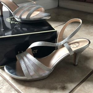 """b38d32111a994 Silver Gli 7.5 shoe by I. Miller 2 1 2"""" heel"""